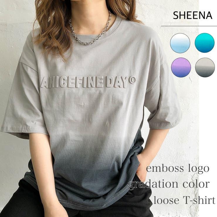 エンボスロゴグラデカラールーズTシャツ 春 夏 | SHEENA  | 詳細画像1