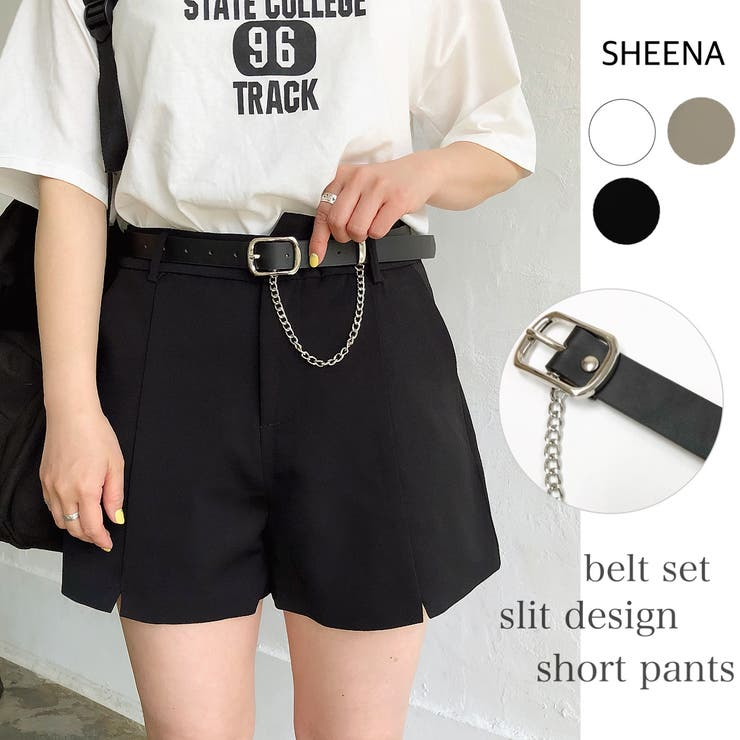 ベルトセット裾スリットデザインショートパンツ 春 夏   SHEENA    詳細画像1