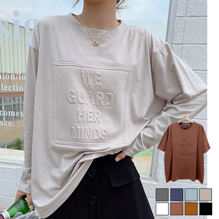 立体ロゴTシャツ オーバーサイズ ビッグシルエット   LADY LIKE    詳細画像1