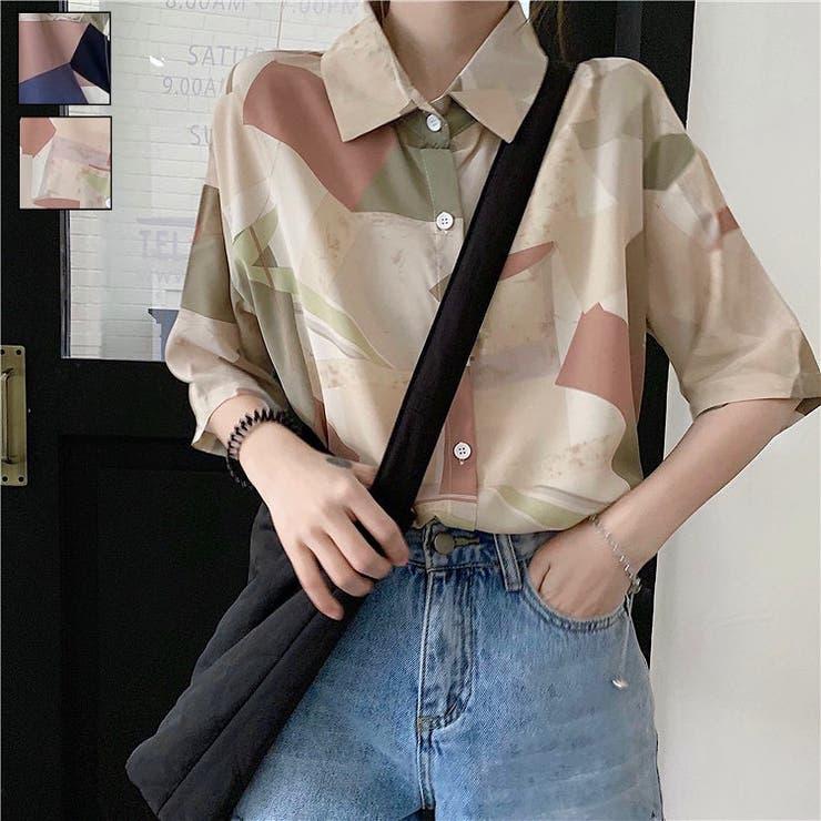 幾何学柄半袖シャツ オーバーサイズ ビッグシルエット | LADY LIKE  | 詳細画像1