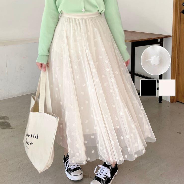 フラワー柄チュールレーススカート 花柄 ロング   LADY LIKE    詳細画像1