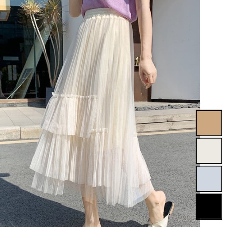 アシンメトリーチュールレーススカート プリーツ ウエストゴム | LADY LIKE  | 詳細画像1