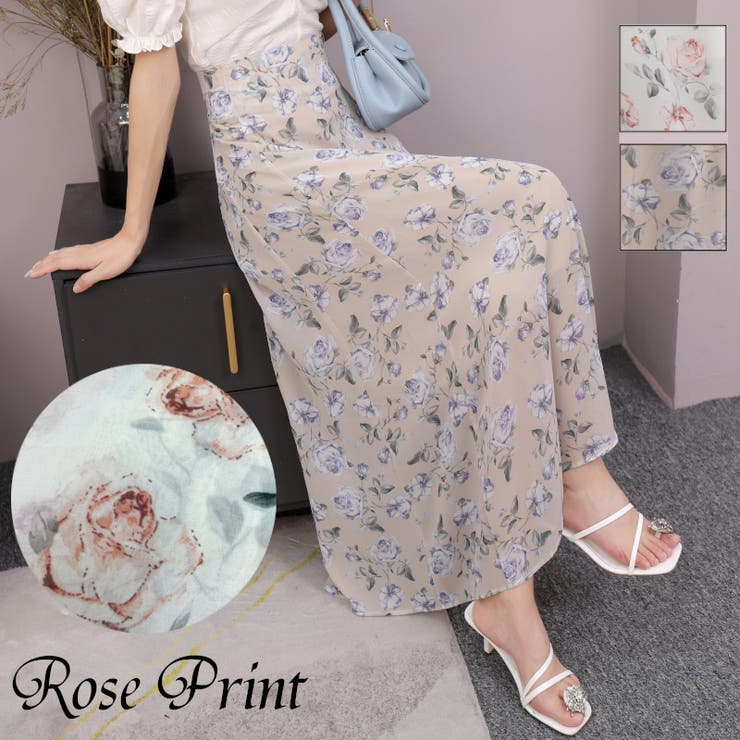 ローズプリントシフォンロングスカート 花柄 フラワー | LADY LIKE  | 詳細画像1