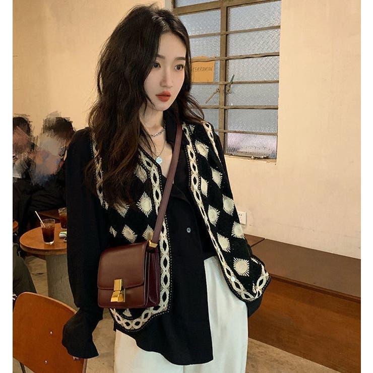 クロシェ編みニットベスト 前開き 韓国ファッション   Sibra   詳細画像1