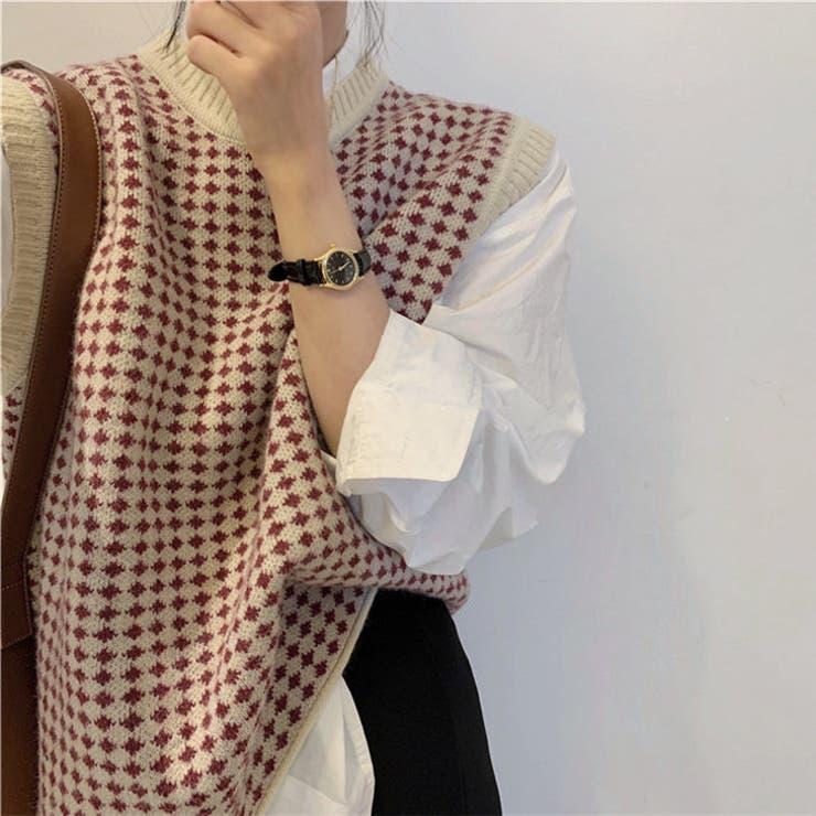 幾何学柄 ニットベスト 韓国ファッション   Sibra   詳細画像1