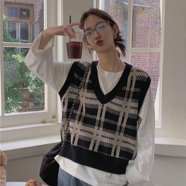 チェック柄ニットベスト 韓国ファッション 韓国   Sibra   詳細画像1