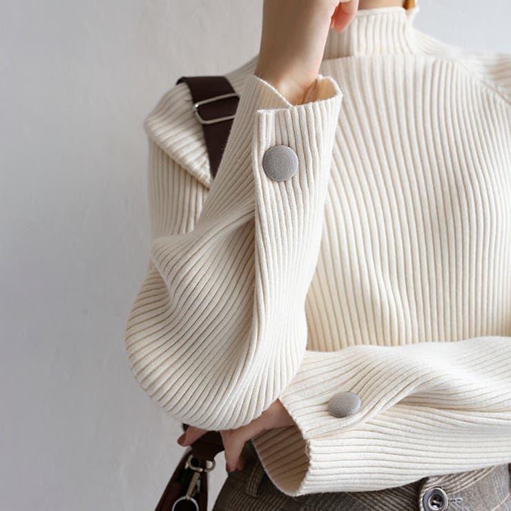 袖ボタンデザインハイネックリブニットプルオーバー 韓国ファッション 韓国   Sibra   詳細画像1