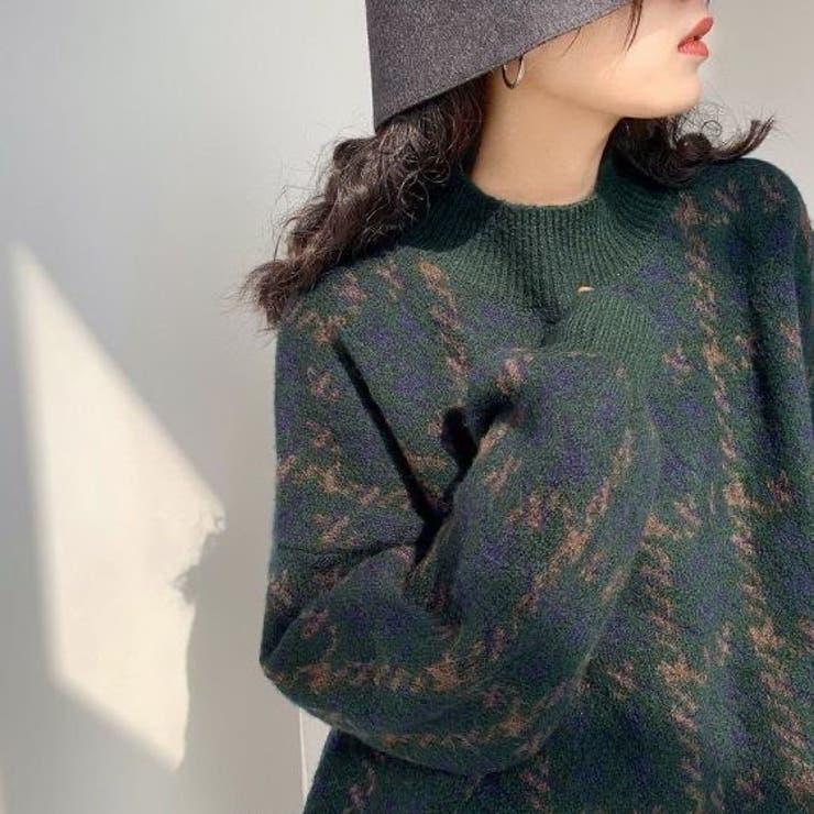 チェック柄ニット 韓国ファッション 韓国   Sibra   詳細画像1
