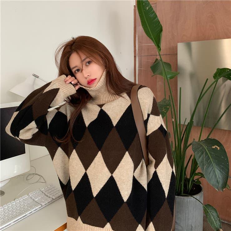 アーガイル柄ハイネックニット 韓国ファッション 韓国   Sibra   詳細画像1