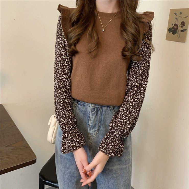 フリルニットドッキングトップス 韓国ファッション 秋服   Sibra   詳細画像1