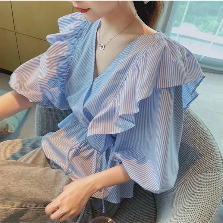 ストライプフリルブラウス 韓国ファッション 夏服 | Sibra | 詳細画像1