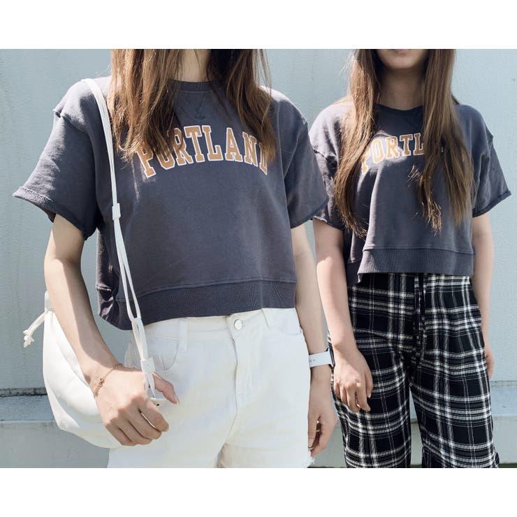 ショット丈半袖ロゴTシャツ 韓国ファッション 夏服   Sibra   詳細画像1