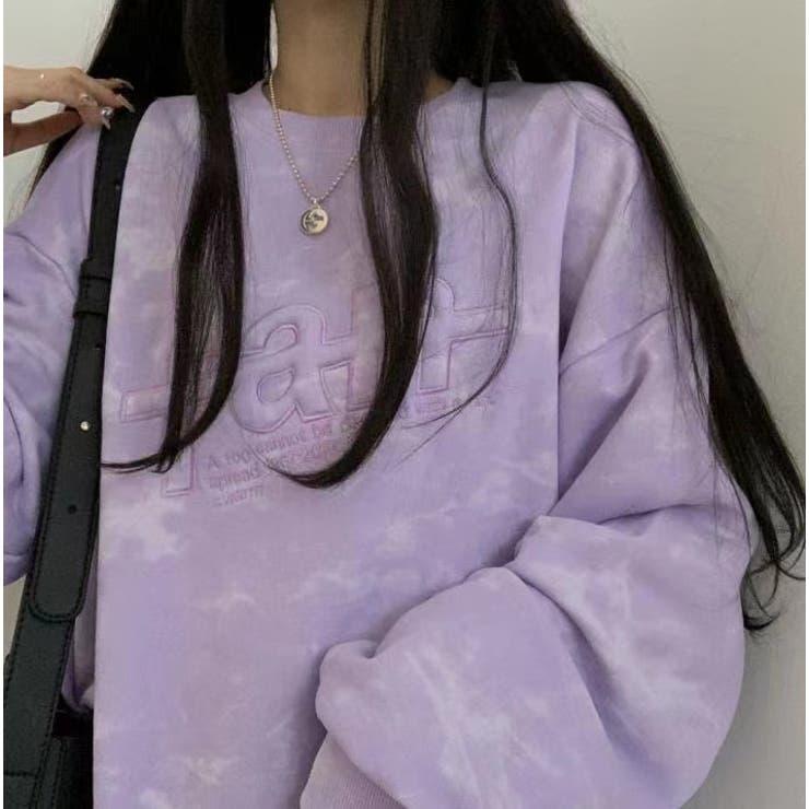 タイダイ柄長袖ロゴビッグシルエット薄手シャツ 韓国ファッション 丸首大きいサイズ   Sibra   詳細画像1