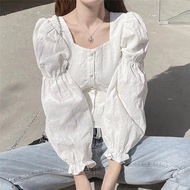 バックシャーリングブラウス 韓国ファッション ワンカラー   Sibra   詳細画像1