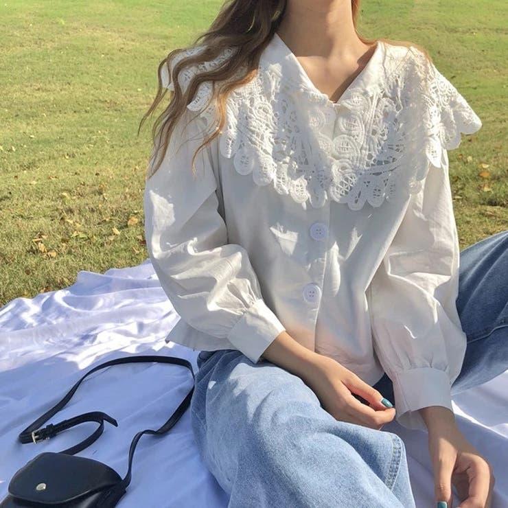 レース襟ブラウス 韓国ファッション 人気アイテム   Sibra   詳細画像1