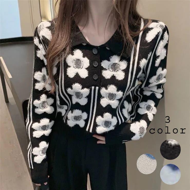 ポロ襟花柄ニットトップス 韓国ファッション 人気 | Sibra | 詳細画像1