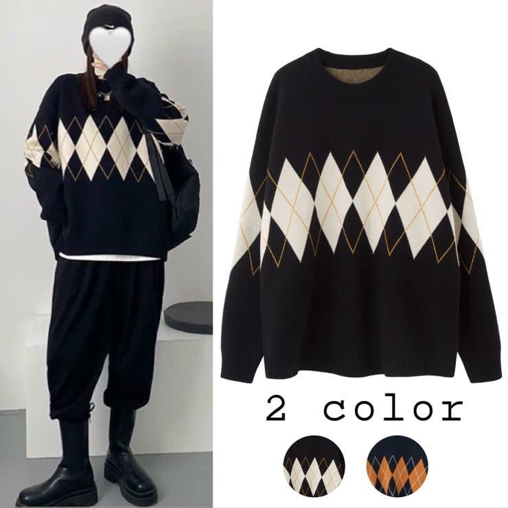 ビッグシルエット クルーネックニットプルオーバー 韓国ファッション | Sibra | 詳細画像1