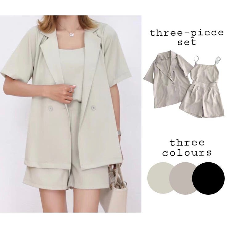 ジャケットセットアップ 3点セット 韓国ファッション   Sibra   詳細画像1