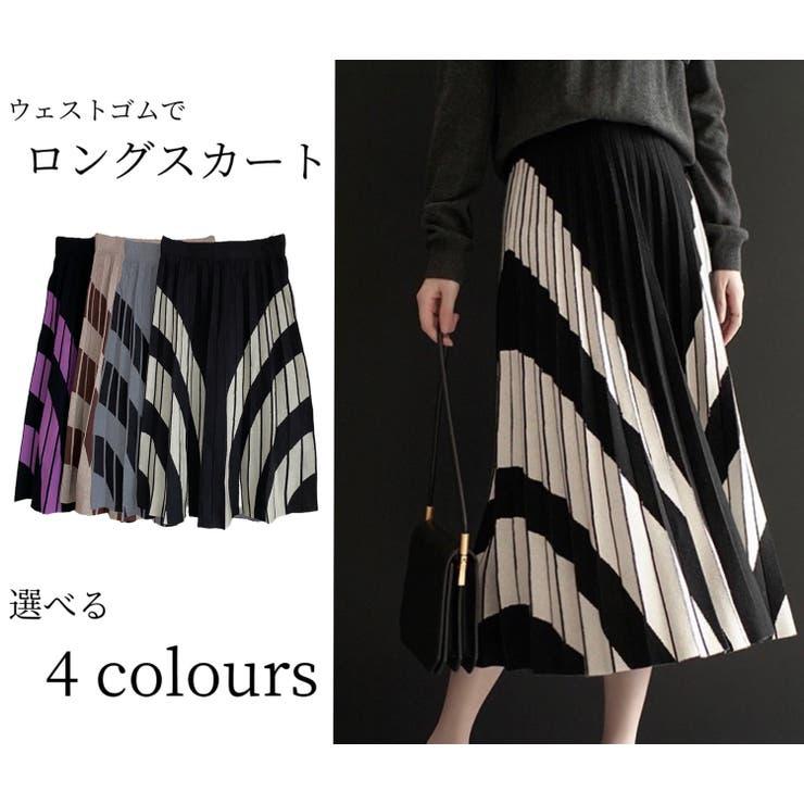 幾何柄プリーツニットスカート 韓国ファッション ハイウェスト | Sibra | 詳細画像1