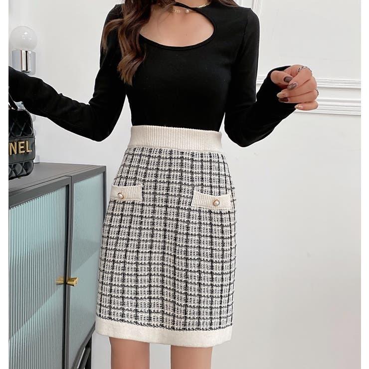 ニットスカート チェック柄 韓国ファッション   Sibra   詳細画像1