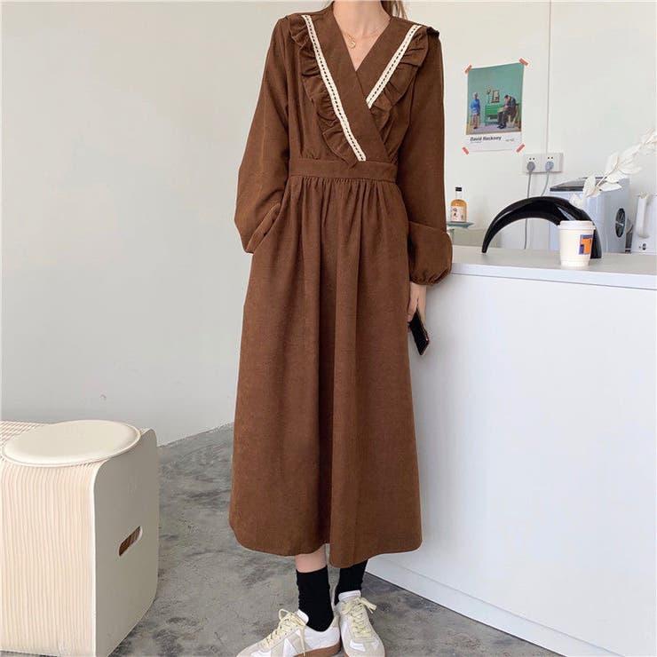 Vネックワンピース 韓国ファッション 韓国 | Sibra | 詳細画像1