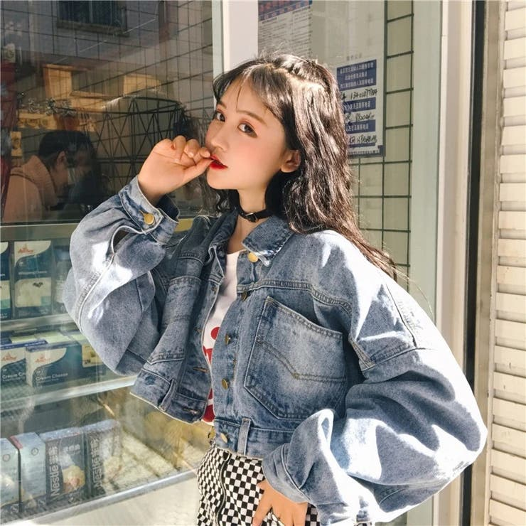 ボリューム袖Gジャン 韓国ファッション 大きいサイズ | Sibra | 詳細画像1