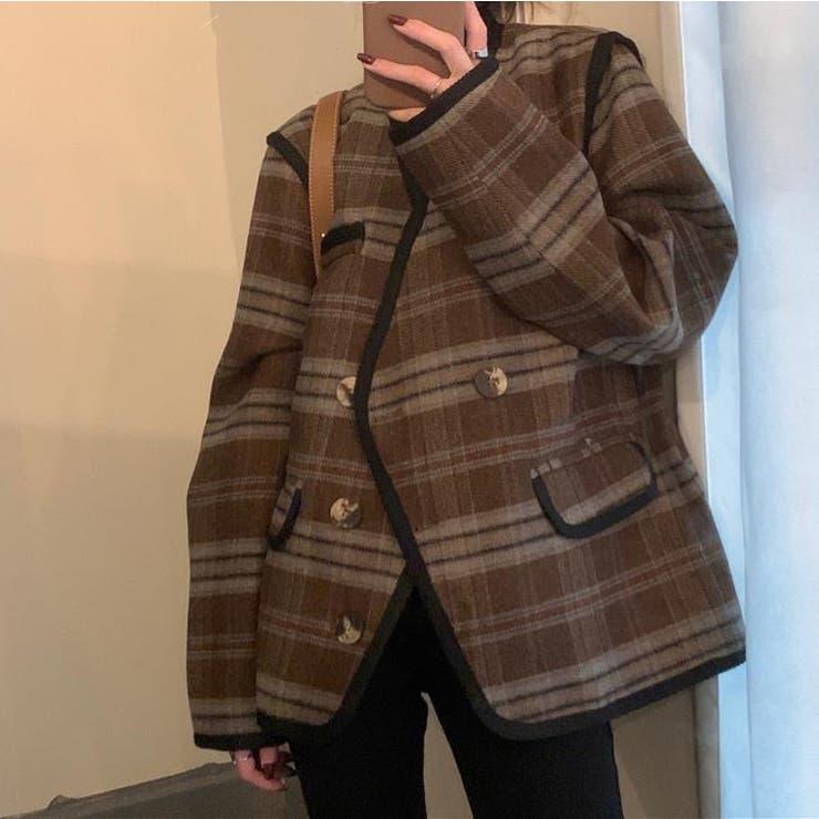 チェック柄ノーカラージャケット 韓国ファッション 韓国   Sibra   詳細画像1