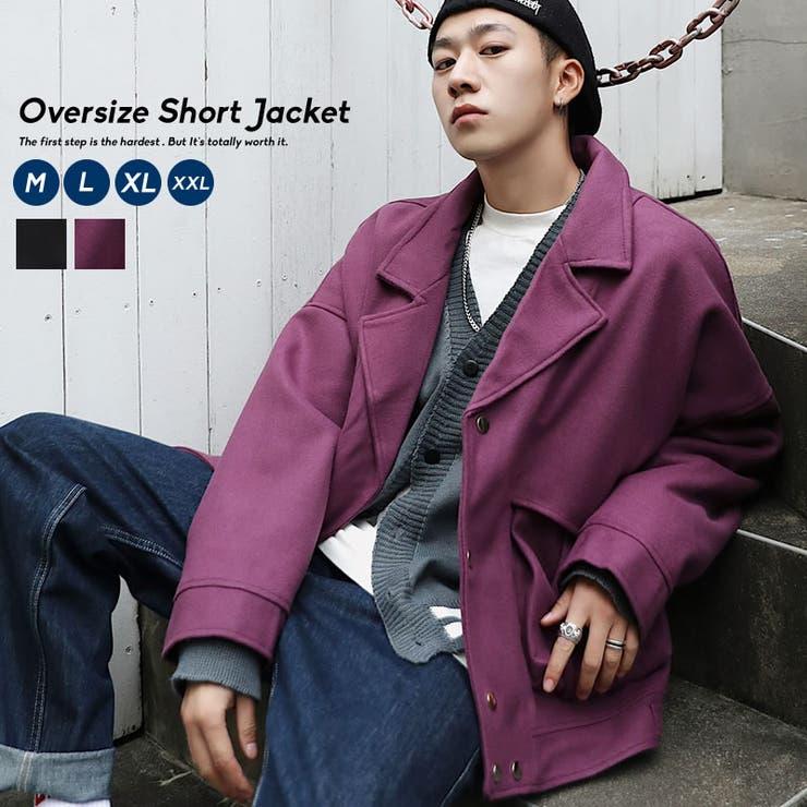 韓国ファッションメンズライダースメンズビックシルエットジャケットショート丈アウターストリートコートおしゃれオルチャンファッションウール韓国服上着ブルゾン | 詳細画像