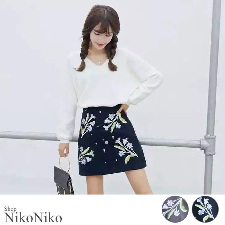 秋冬新作 刺繍スカート ma ボトムス スカート ミニスカート 刺繍 フラワー Aライン シンプル レディース