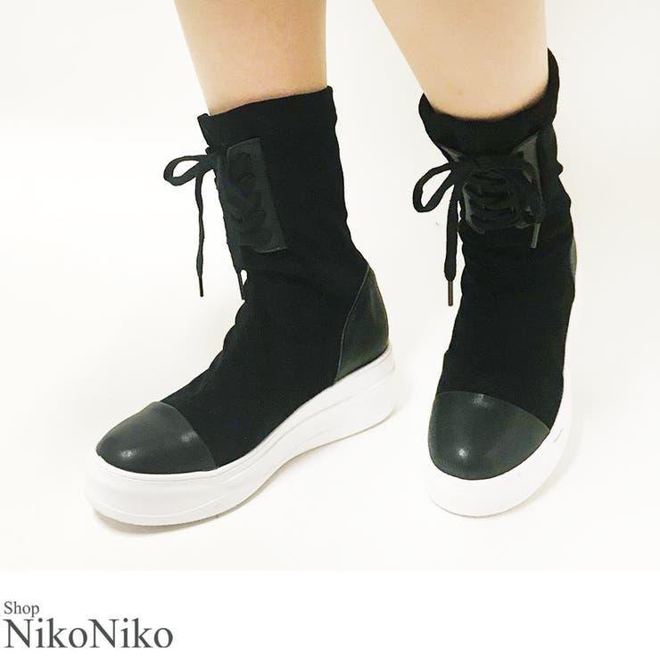 秋新作 レースアップスニーカーブーツ シューズ   ShopNikoNiko   詳細画像1