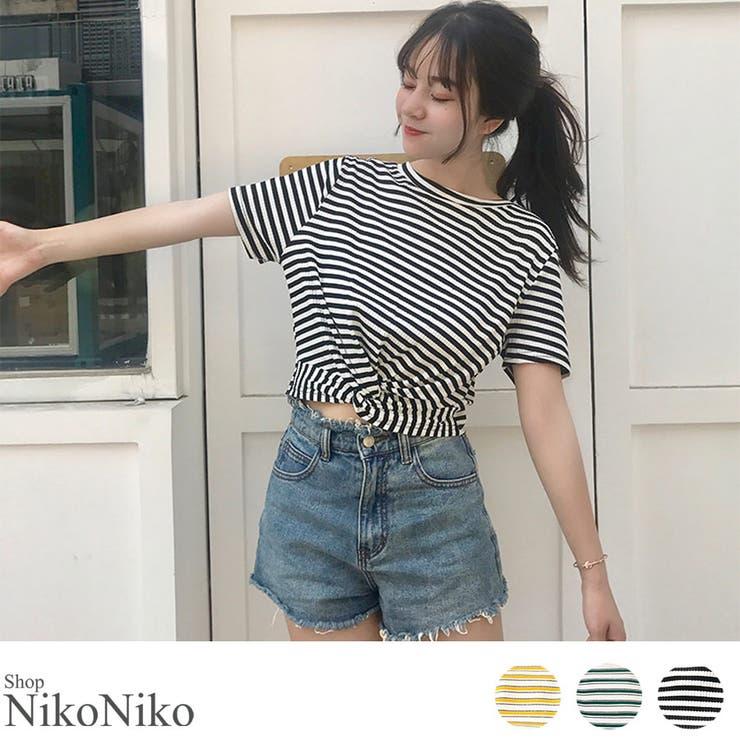 秋新作 カシュクールボーダーTシャツ ma | ShopNikoNiko | 詳細画像1