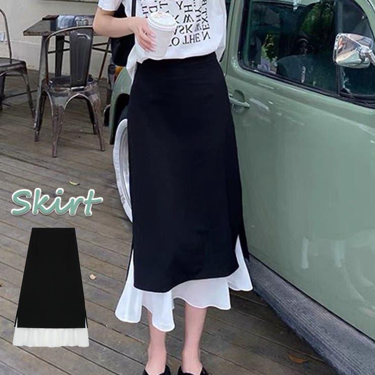 Aラインロングスカートシフォン切り替え  | shoppinggo | 詳細画像1