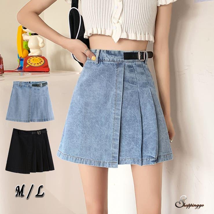 韓国ファッション デニムミニスカート ハイウエスト   shoppinggo   詳細画像1