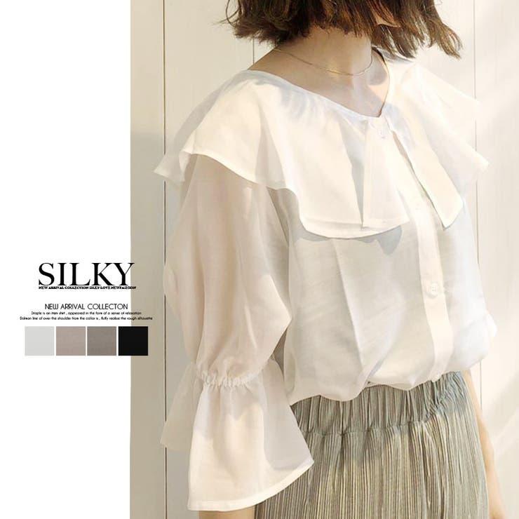シアーデカ衿ブラウス | Silky | 詳細画像1