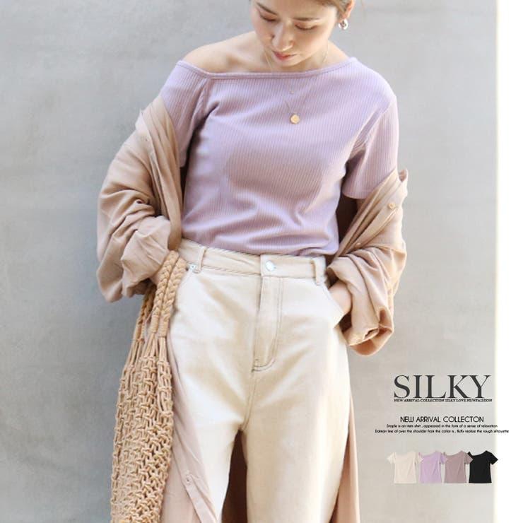 テレコアシメTシャツ トップス オフィス | Silky | 詳細画像1