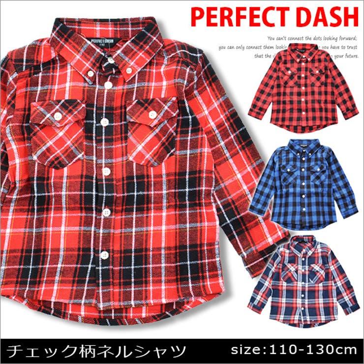 PERFECT-DASHから人気のチェック柄ネルシャツ登場!起毛した柔らかなネル生地で着心地バツグン♪カジュアルコーデに必須のおしゃれなチェック柄ボタンダウン・ネルシャツ★キッズサイズの110cm〜130cm、レッド・ブルー・ネイビーの4カラー展開です