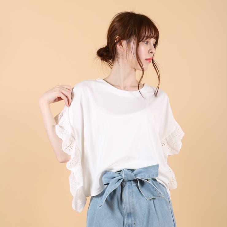 袖刺繍Tシャツ/カットソー | s.i.p | 詳細画像1