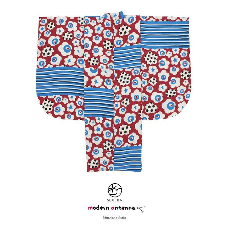 袴用二尺袖着物 ブランド modernantenna(モダンアンテナ) 赤 レッド 青 ブルー 花 縞 ストライプ レトロモダン 小振袖 袴用 卒業式 謝恩会 女性 レディース 仕立て上がり