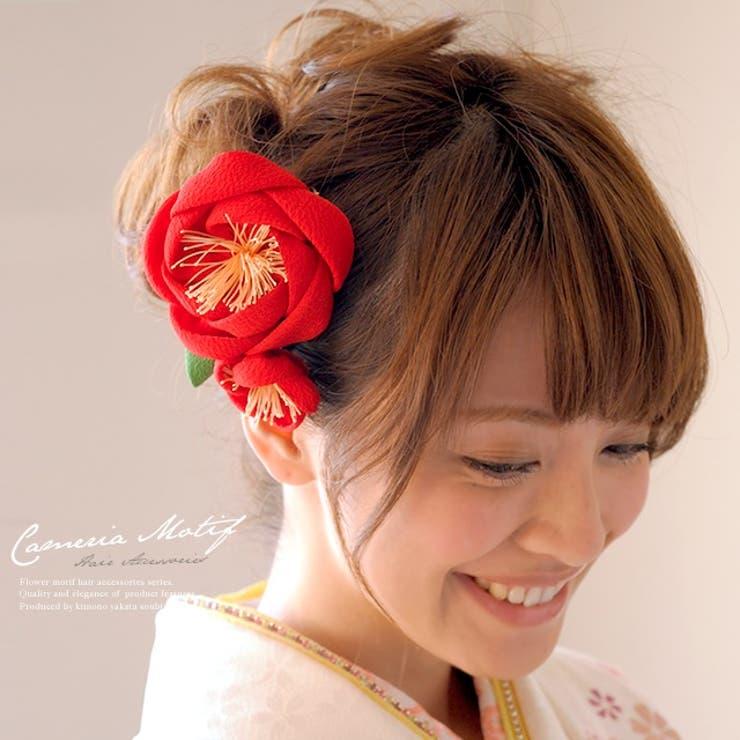 赤の椿モチーフ髪飾り | 詳細画像
