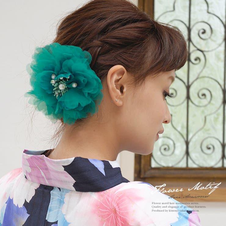 髪飾り 青緑 花 フラワー オーガンジー パールビーズ コサージュ 浴衣【浴衣向けヘアアクセ】