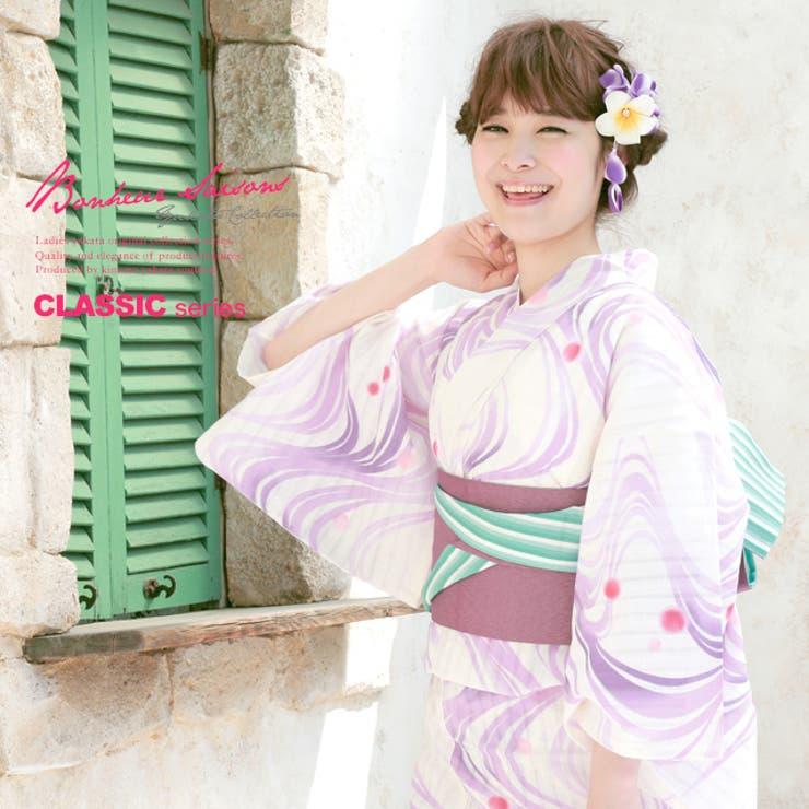 紫・ボヌールセゾンのレディース浴衣   詳細画像