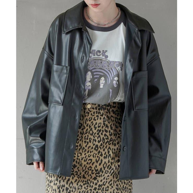 エコレザーオーバーシャツ/ジャケット | SPINNS | 詳細画像1