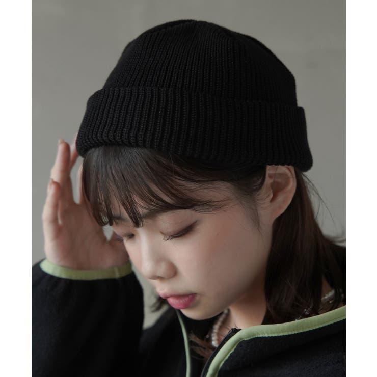 リブニット帽 プレーン ブラック   SPINNS   詳細画像1