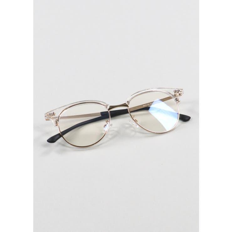 アイブロウ型メガネ クリアフレーム クリア   SPINNS【MEN】   詳細画像1