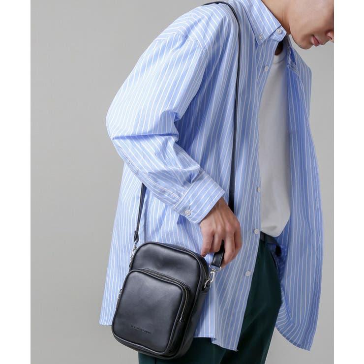 スクエアショルダーバッグ ポケット ブラック | SPINNS【MEN】 | 詳細画像1