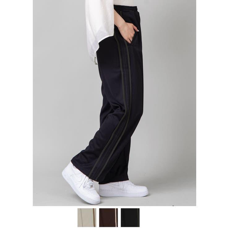 2ラインジャージパンツ 3色展開 ブラックxダークグリーン | SPINNS | 詳細画像1