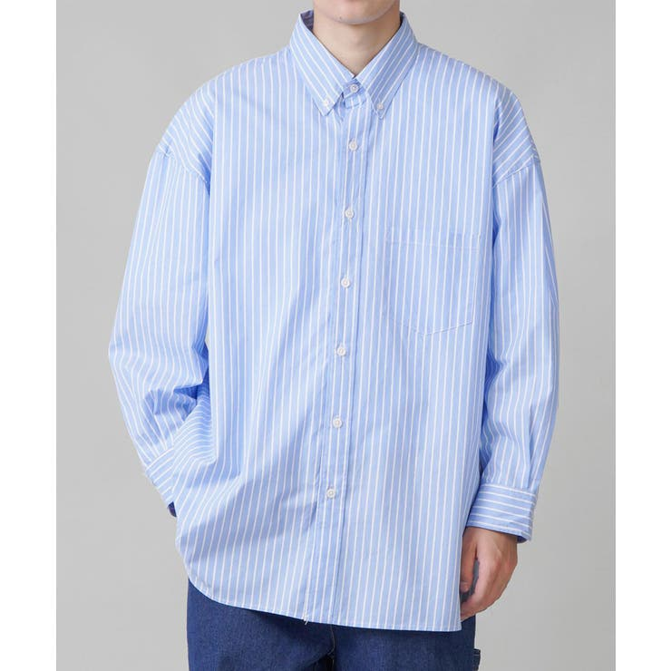 ストライプビッグシャツ 4色展開 ブルー2 | SPINNS【MEN】 | 詳細画像1
