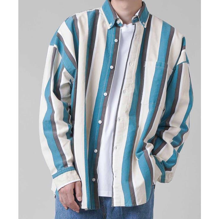 ロングスリーブシャツ USED風ストライプ ブルー   SPINNS【MEN】   詳細画像1