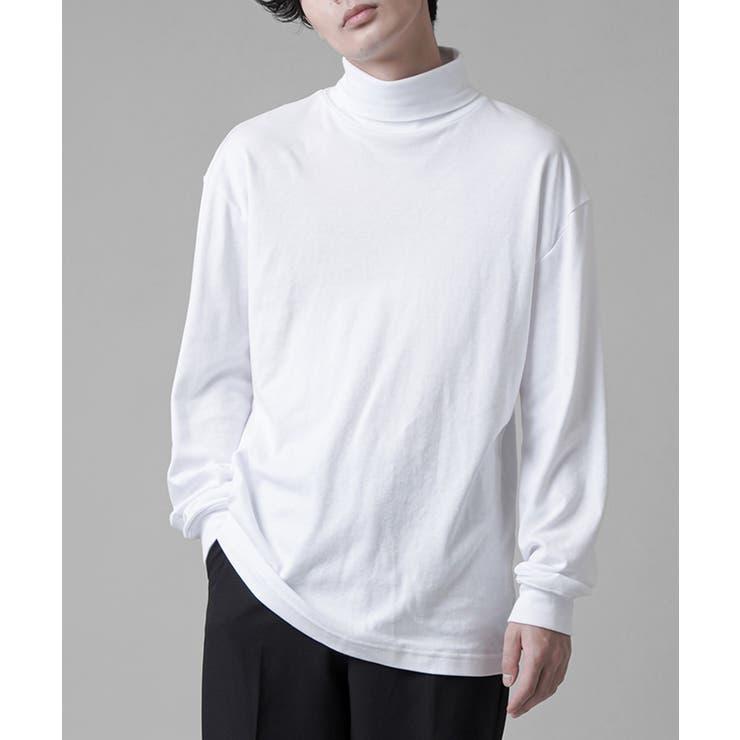ロングスリーブタートルネックTシャツ ブラック ホワイト   SPINNS【MEN】   詳細画像1