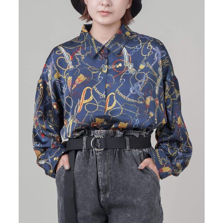 ロングスリーブ柄シャツ 3色展開 ブラック   SPINNS   詳細画像1